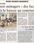 Oise hebdo, 11 avril 2012 : Déchets ménagers, des factures à la hausse au courrier