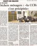 Oise hebdo, 18 avril 2012 : Déchets ménagers, la CCBA s'est précipitée