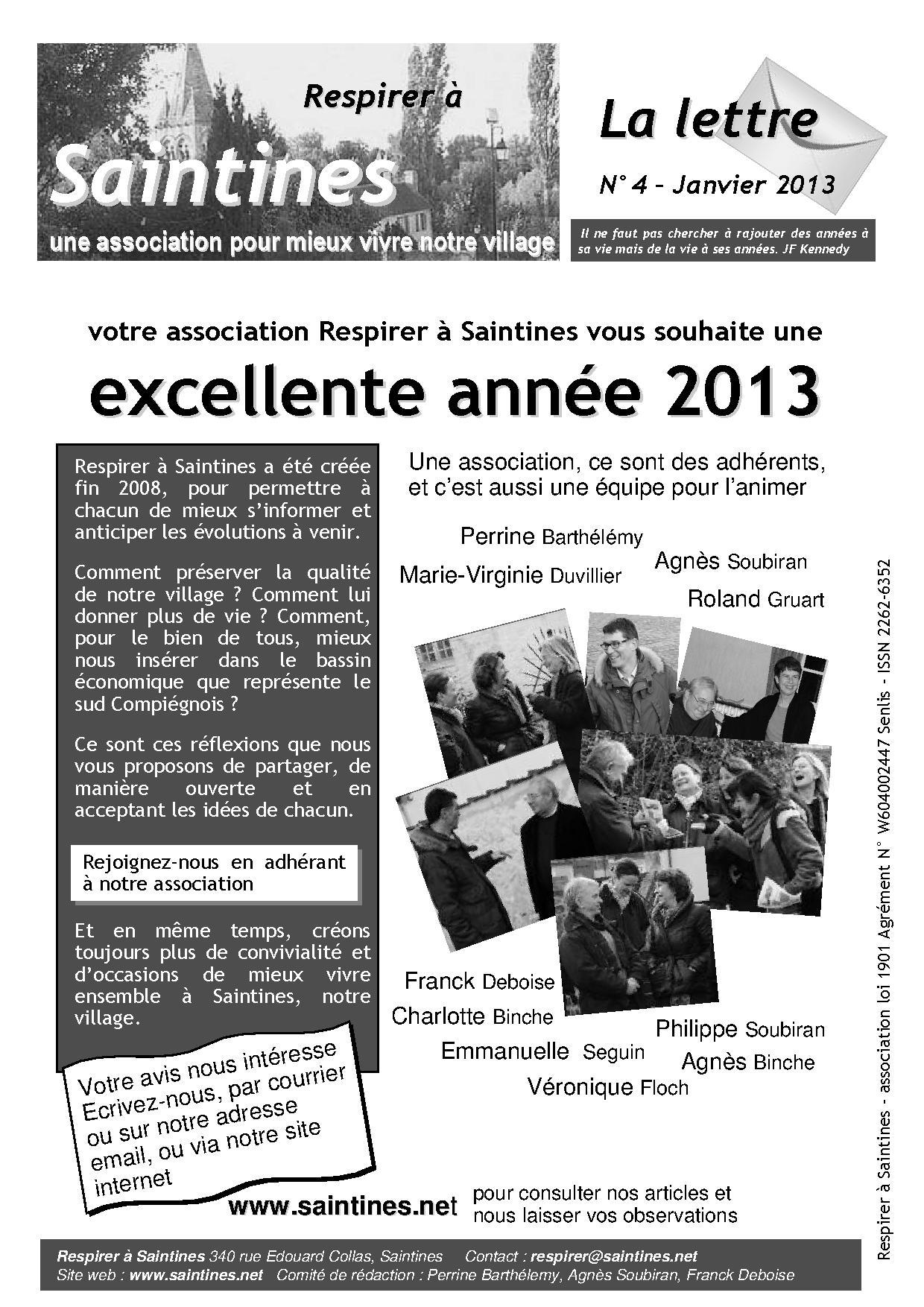 La Lettre de janvier 2013, page 1