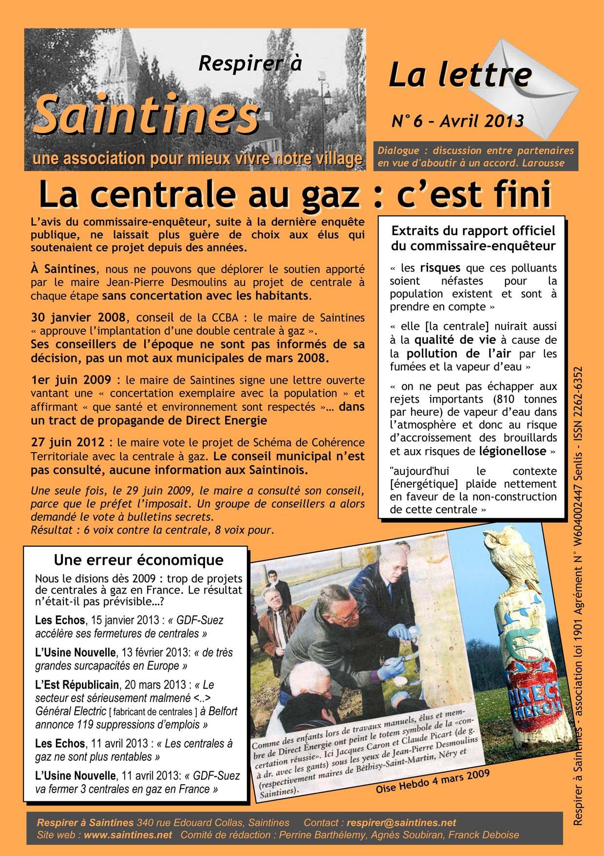 La Lettre d'Avril 2013 page 1