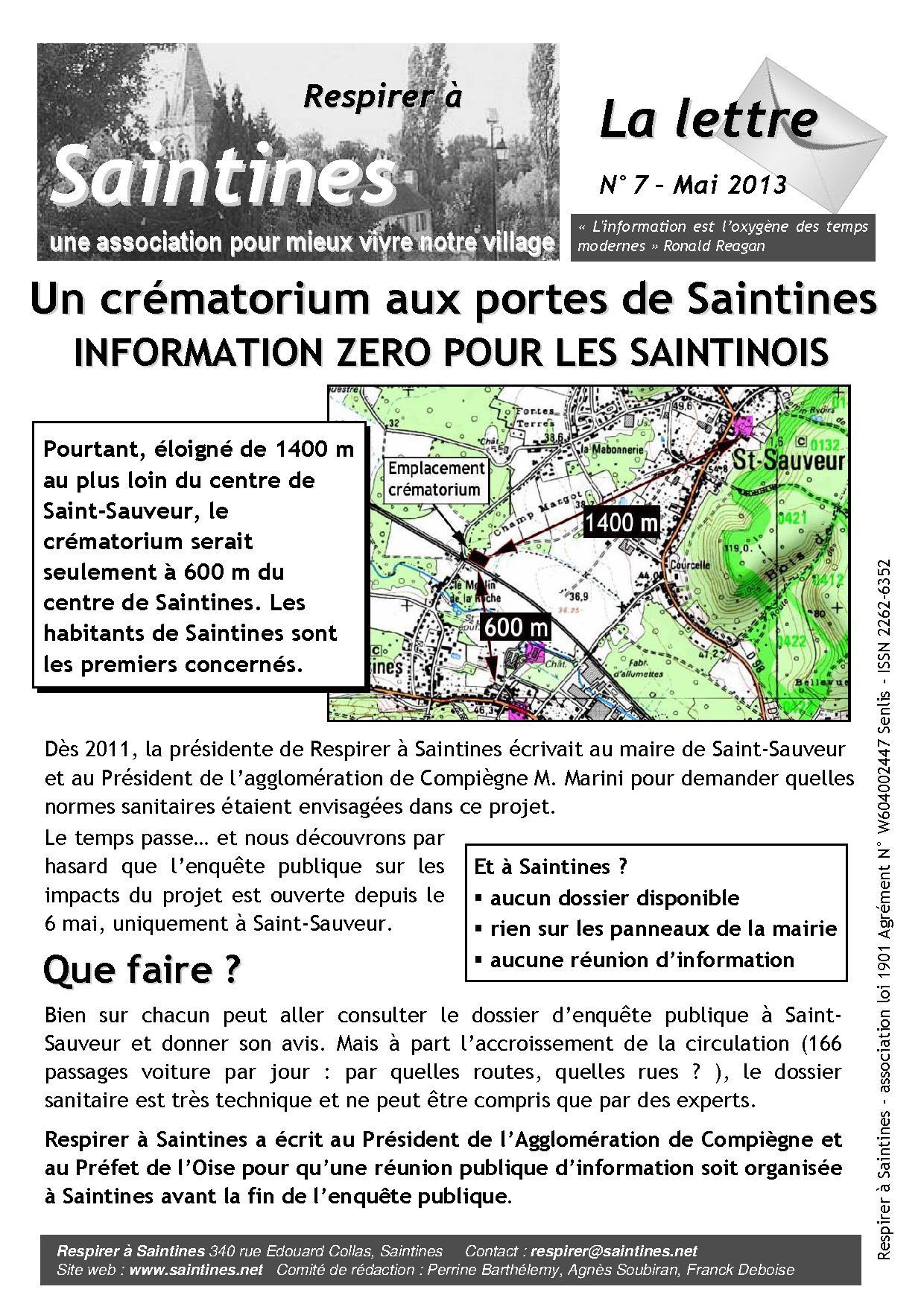 La Lettre de mai 2013, page 1
