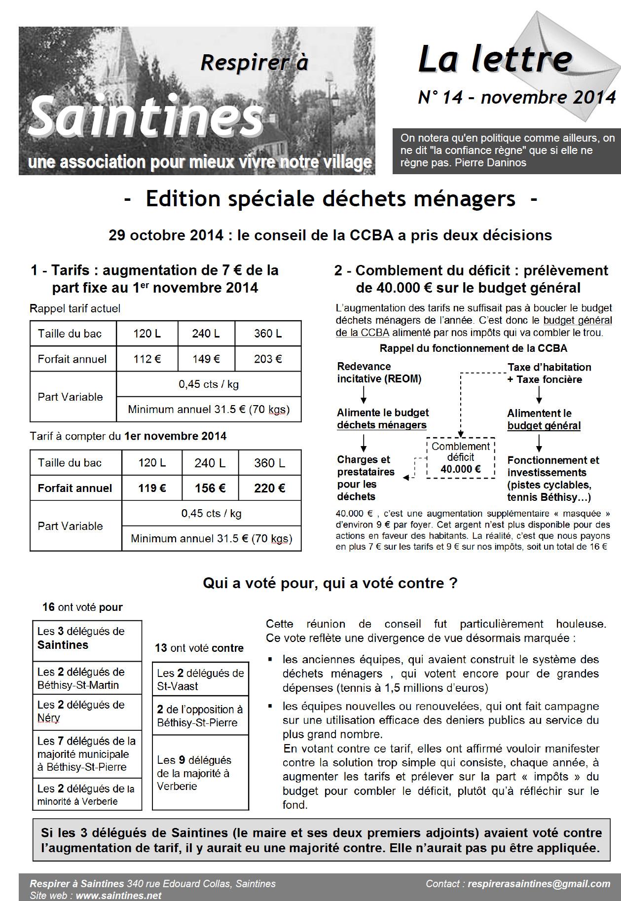 La Lettre nov 2014 page 1